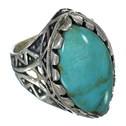 Genuine Sterling Silver Turquoise Southwest Ring Size 6-1/2 FX93431