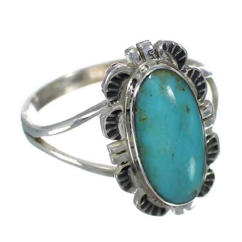 Authentic Sterling Silver Turquoise Jewelry Ring Size 7-1/2 RX92718