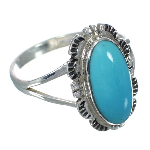Southwest Genuine Sterling Silver Turquoise Ring Size 8-1/2 RX92810