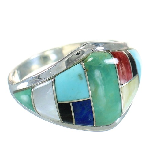Multicolor Inlay Genuine Sterling Silver Southwest Ring Size 5 AX87786