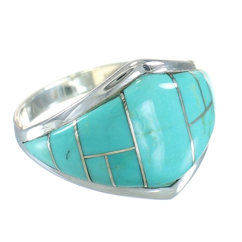 Turquoise Inlay Sterling Silver Ring Size 7-1/2 AX87964