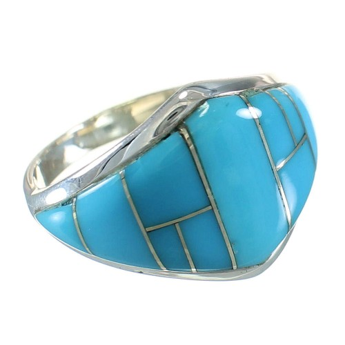 Southwestern Turquoise Silver Ring Size 6 AX87963