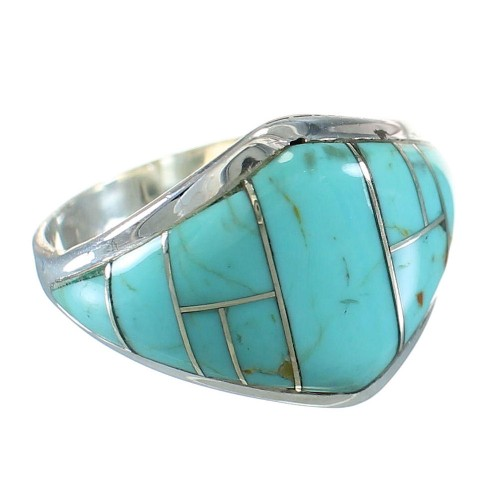 Turquoise Southwestern Sterling Silver Ring Size 8 AX87968