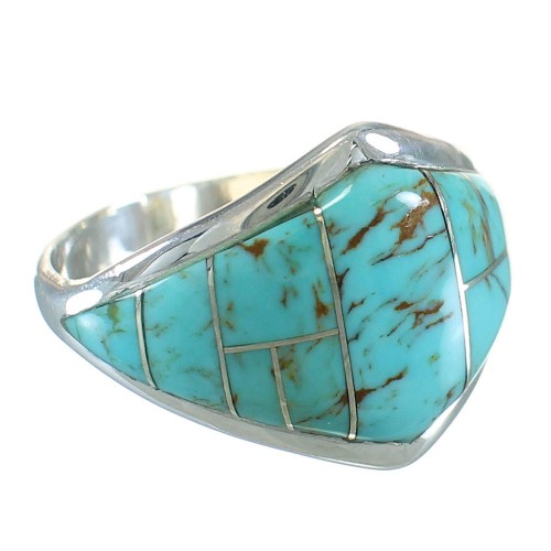 Turquoise Inlay Silver Jewelry Ring Size 7-1/2 AX87978