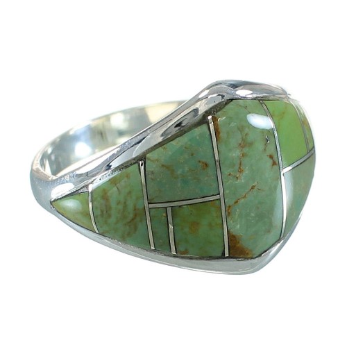 Turquoise Inlay Jewelry Sterling Silver Ring Size 8-1/2 AX88563