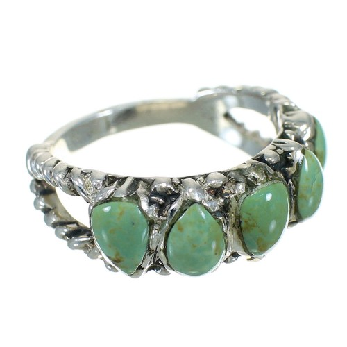 Southwest Sterling Silver Turquoise Ring Size 8 FX90595