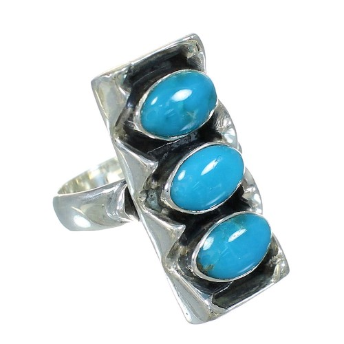 Turquoise Jewelry Southwestern Genuine Sterling Silver Ring Size 4-3/4 AX89294