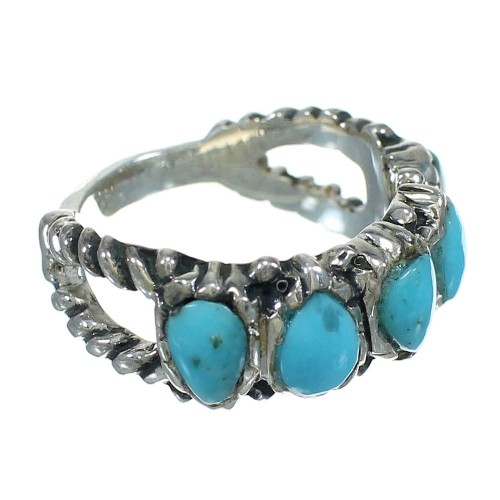 Turquoise Southwestern Sterling Silver Ring Size 7-1/4 AX89316