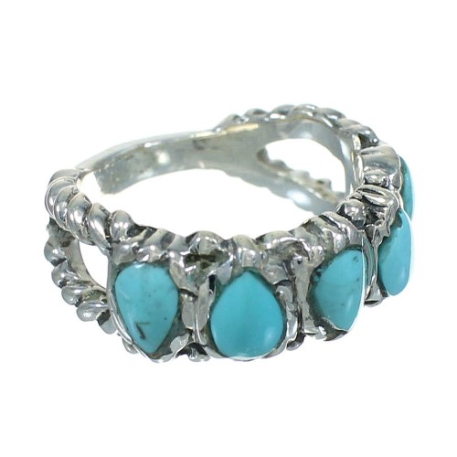Turquoise Jewelry Genuine Sterling Silver Ring Size 5-3/4 AX89330