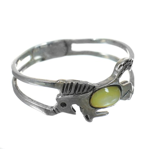 Yellow Mother Of Pearl Southwestern Silver Horse Ring Size 5-1/4 YX92394