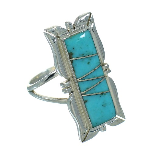 Silver Southwest Turquoise Inlay Ring Size 5-3/4 AX92055