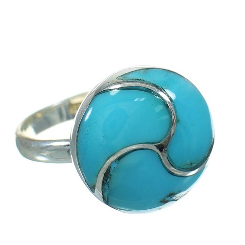 Authentic Sterling Silver Turquoise Ring Size 5-3/4 AX92095