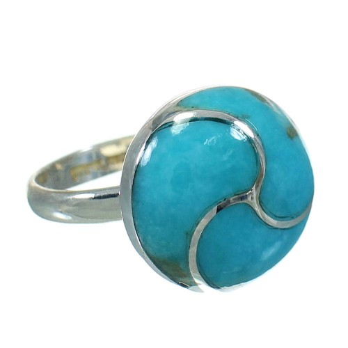 Silver Turquoise Inlay Southwestern Jewelry Ring Size 5-1/4 AX92147