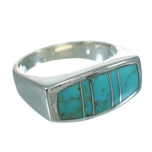 Turquoise Inlay Genuine Sterling Silver Ring Size 6-1/4 AX92174
