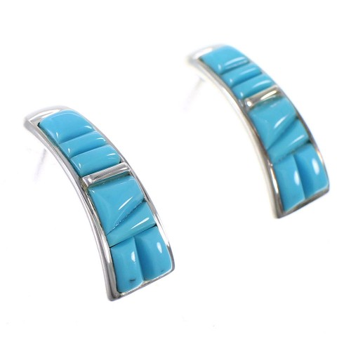 Turquoise Inlay Sterling Silver Post Hoop Earrings AX87254