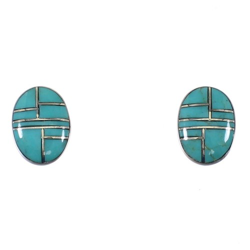Turquoise Inlay Southwest Silver Post Earrings AX87264