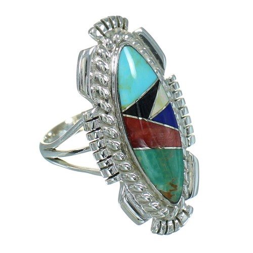 Multicolor Inlay Genuine Sterling Silver Southwestern Ring Size 7-1/4 RX86811