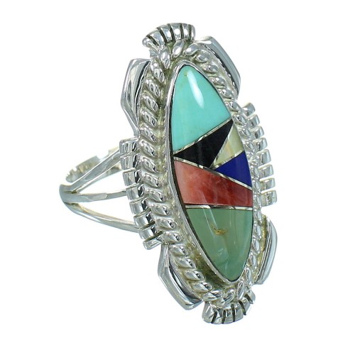 Genuine Sterling Silver Multicolor Inlay Southwest Ring Size 6-3/4 RX86817