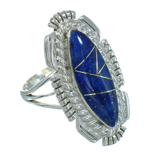 Genuine Sterling Silver And Lapis Inlay Jewelry Ring Size 6-1/4 RX86865