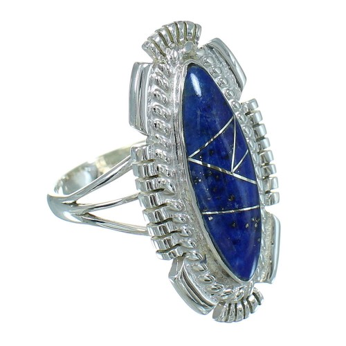 Sterling Silver Lapis Inlay Southwest Jewelry Ring Size 7-1/2 RX86894