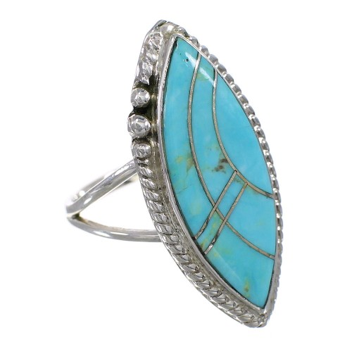 Sterling Silver Turquoise Inlay Ring Size 8-1/4 FX93581
