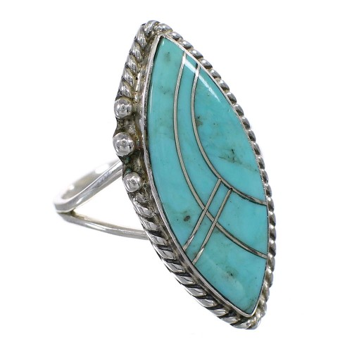 Sterling Silver Turquoise Inlay Jewelry Ring Size 5 AX87996