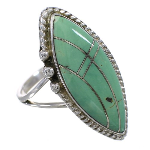 Turquoise Sterling Silver Southwestern Ring Size 7-1/2 AX88611