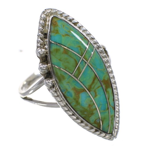Sterling Silver Turquoise Inlay Ring Size 8-1/2 AX88641