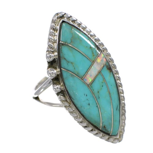 Turquoise Opal Sterling Silver Southwestern Ring Size 5-1/4 YX87900