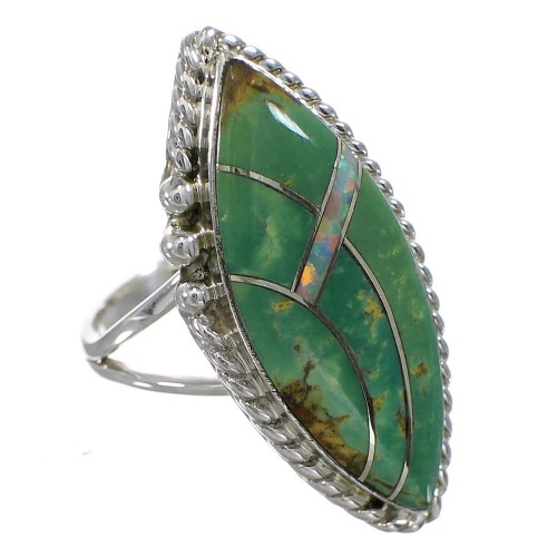 Sterling Silver Opal And Turquoise Southwest Ring Size 5-1/2 YX88821