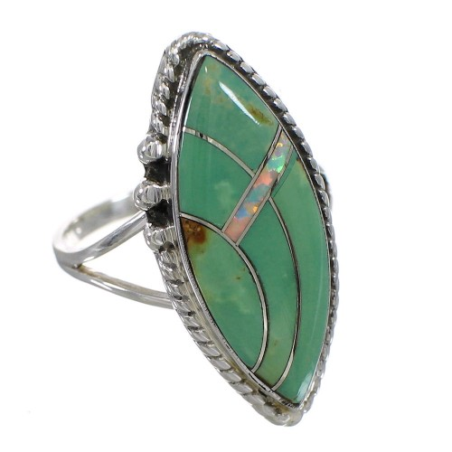 Southwest Turquoise Opal Authentic Sterling Silver Ring Size 4-3/4 YX88834