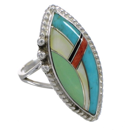 Multicolor Inlay Southwestern Jewelry Silver Ring Size 5-1/2 AX87873