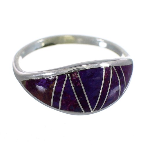 Silver Magenta Turquoise Inlay Ring Size 6-1/4 AX88715