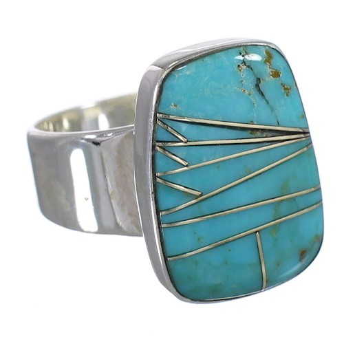 Turquoise Genuine Sterling Silver Southwest Ring Size 7-1/2 AX88020