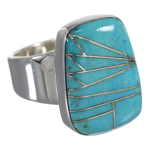Turquoise Inlay Genuine Sterling Silver Southwest Ring Size 7 AX88023