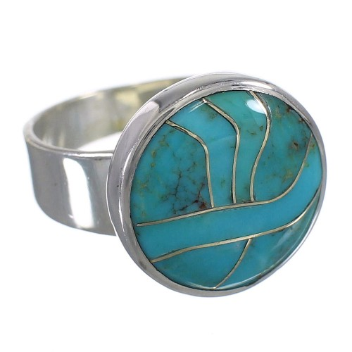 Southwestern Turquoise Inlay Sterling Silver Ring Size 8-1/2 AX88052