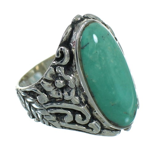 Southwest Sterling Silver And Turquoise Flower Ring Size 7-1/2 RX87410