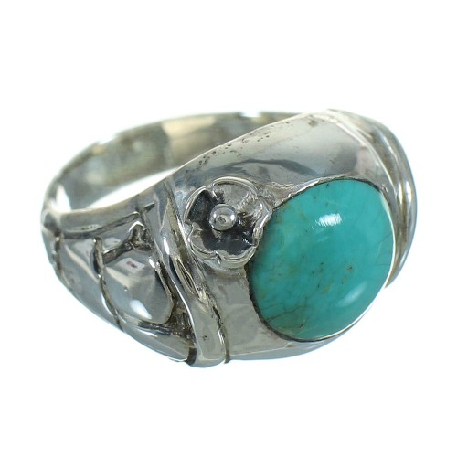 Authentic Sterling Silver Turquoise Flower Southwest Jewelry Ring Size 7-3/4 RX87683