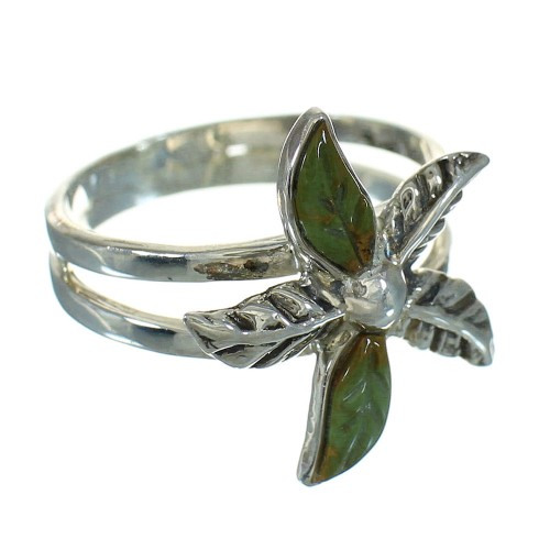 Turquoise And Sterling Silver Flower Ring Size 8 RX88050