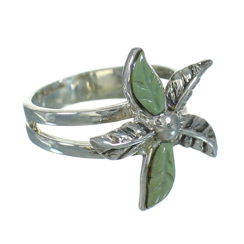 Turquoise Genuine Sterling Silver Flower Ring Size 6 RX88059
