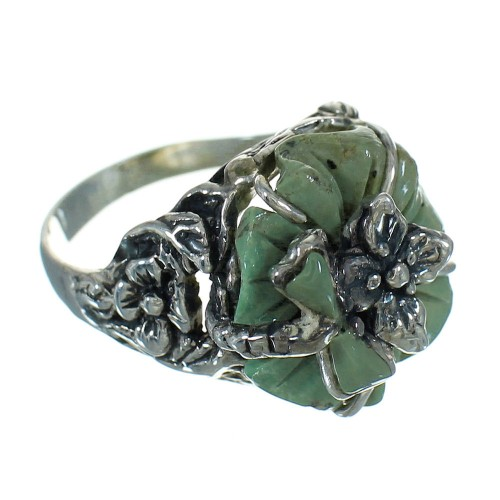 Sterling Silver Turquoise Flower And Dragonfly Jewelry Ring Size 4-1/4 RX88119
