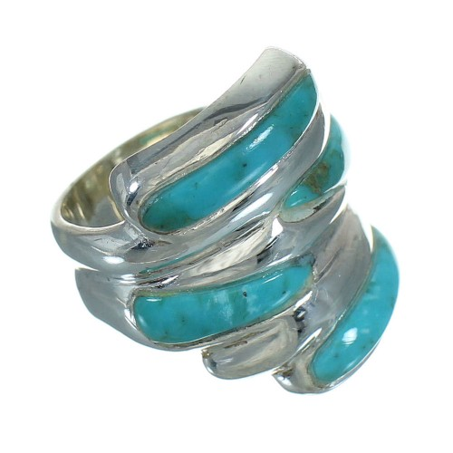 Sterling Silver Turquoise Jewelry Ring Size 7-3/4 FX91737