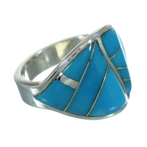 Sterling Silver Turquoise Inlay Jewelry Ring Size 5-1/4 FX91786