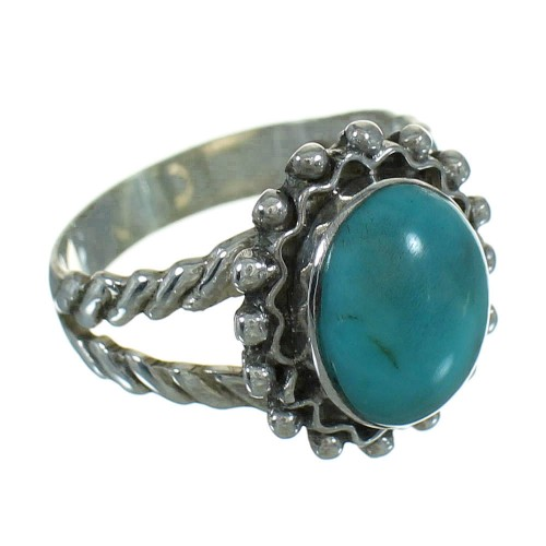 Turquoise Southwest Silver Ring Size 6-1/2 QX86031