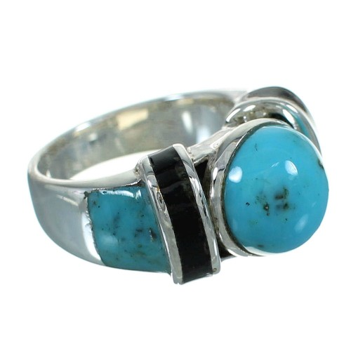Southwestern Turquoise And Jet Inlay Genuine Sterling Silver Ring Size 5-1/4 AX87531