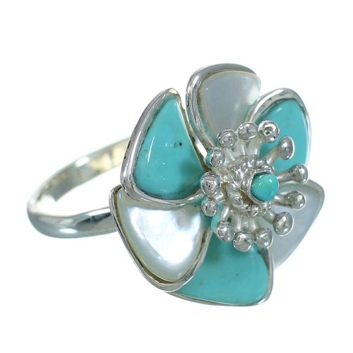 Turquoise And Mother Of Pearl Inlay Silver Flower Ring Size 6-1/4 AX87538