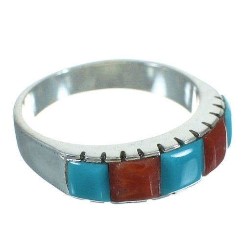Turquoise And Coral Sterling Silver Ring Size 6-1/4 AX87578