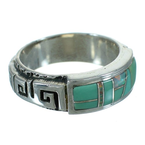 Southwestern Sterling Silver Turquoise And Opal Inlay Water Wave Ring Size 4-1/2 AX87617