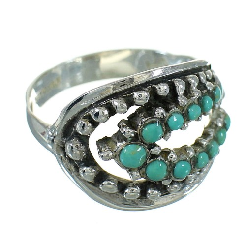 Southwest Turquoise And Authentic Sterling Silver Jewelry Ring Size 5-3/4 YX87233