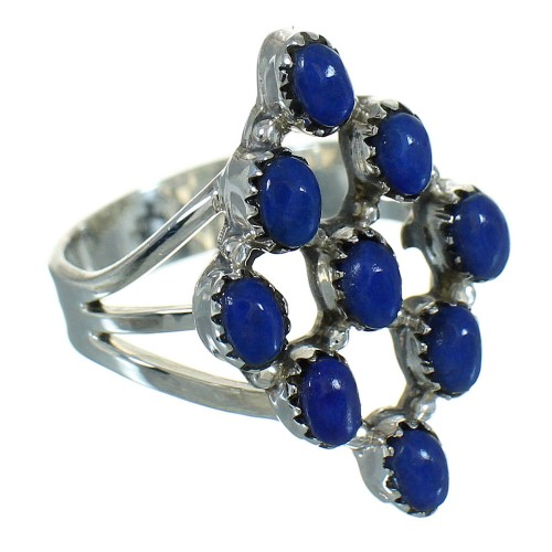 Sterling Silver Lapis Jewelry Southwest Ring Size 5-1/2 AX89718
